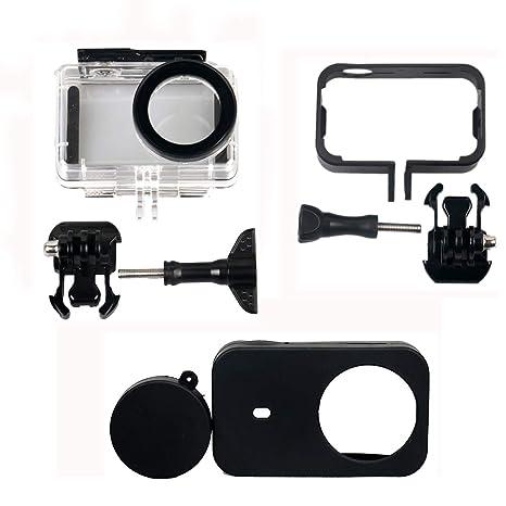 Kingwon 3 en 1 Kit de accesorios protector para XIAOMI MIJIA 4K Mini Action Camera - Estuche protector impermeable + Estuche marco de plástico + ...