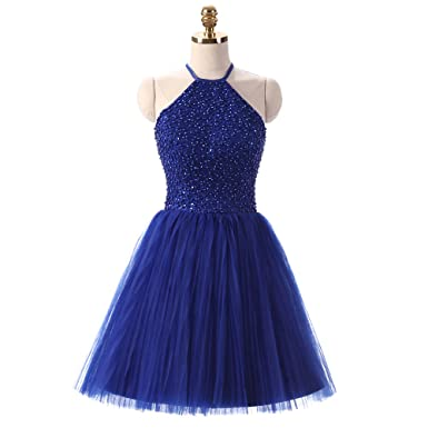 6353704de6b XPLE Girls Pageant Dress Sleeveless Keyhole Back Beaded Royal Blue Short  Prom Dress Homecoming Gowns D41 at Amazon Women s Clothing store