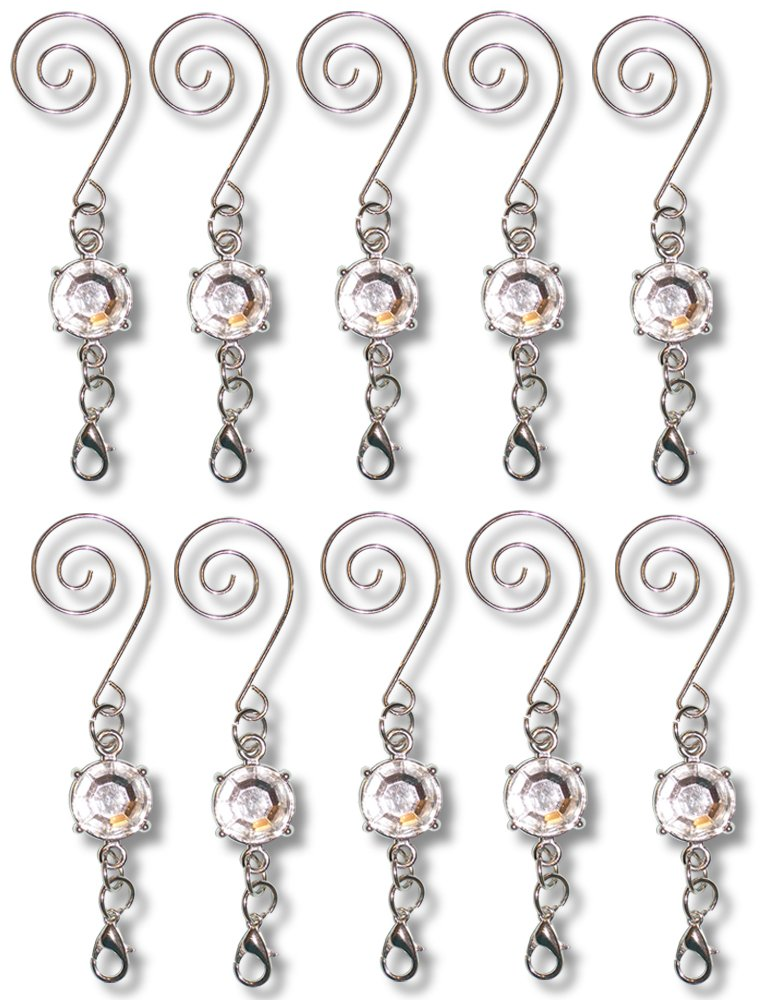 Christmas Ornament Hooks - Metal Wire Hanging Hook Set/10 - Shiny Silver Chrome Ornament Hangers - Decorative Swirl Scroll Design With Beads by Banberry Designs