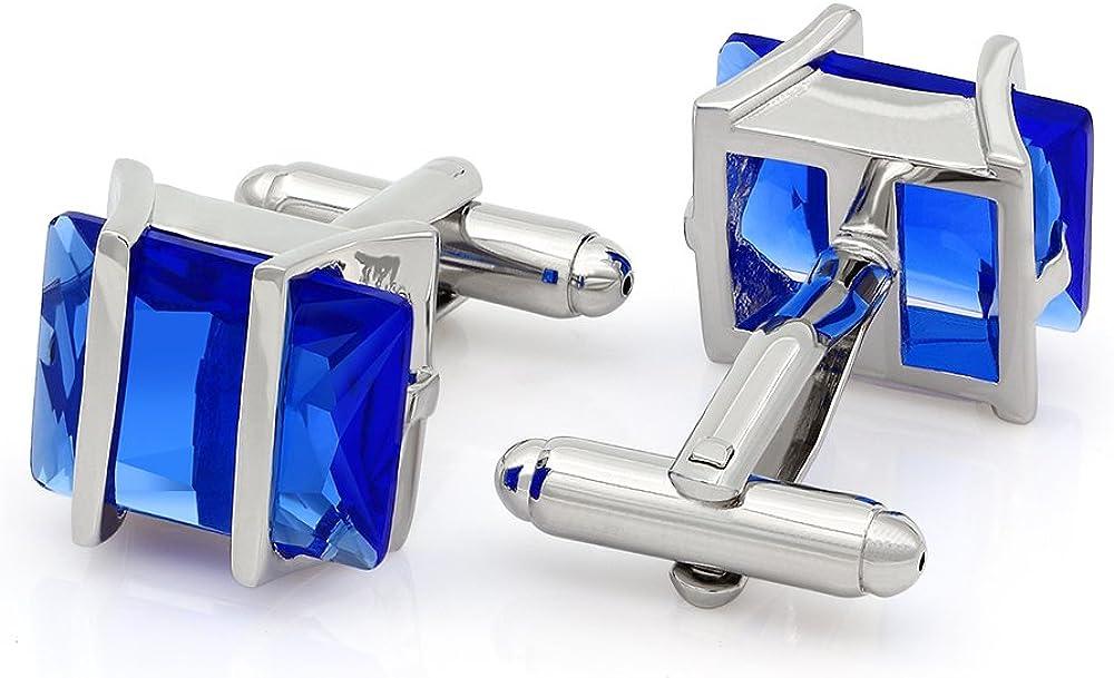 Kemstone Oxyde de Zirconium Cristal Boutons de Manchette Argent/é Bijoux pour Hommes