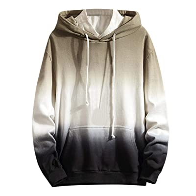 WINJUD Mens Hoodies Gradient Color Cotton Sweatshirt Long Sleeve Pockets Hooded Pullover Top at Men's Clothing store