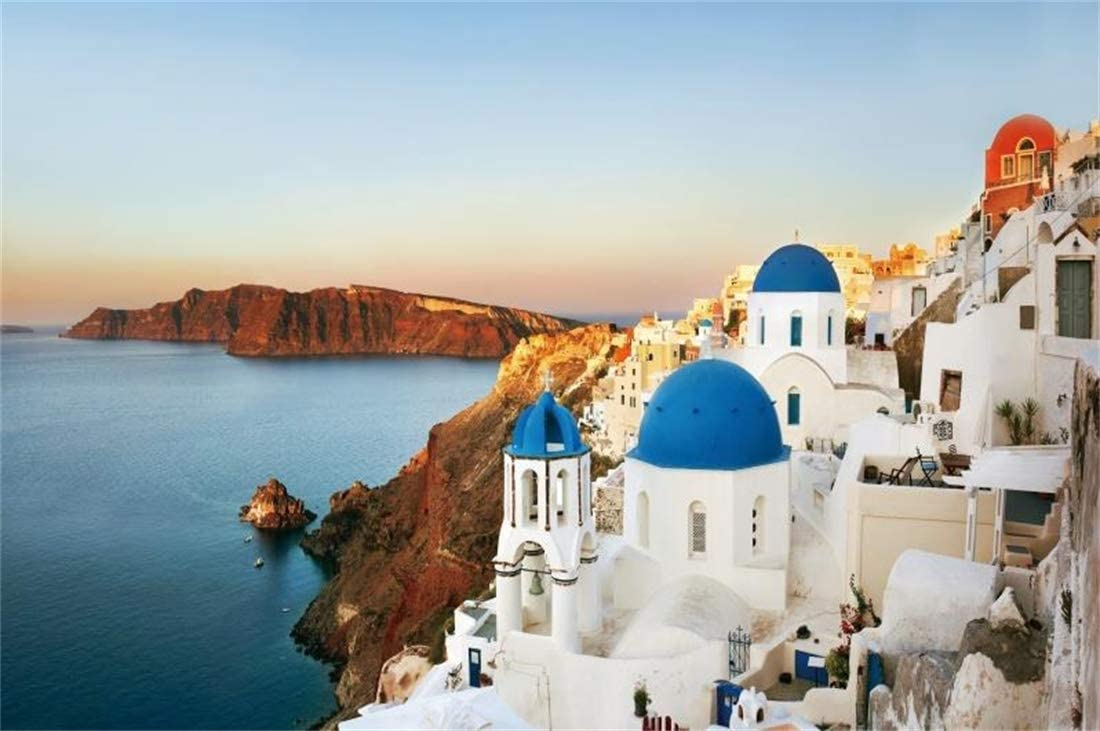 Yeele-Santorini-Background 6x4ft Photography Background Greece Picturesque Volcanic Island Mountain Balcony Sea View Photo Backdrops Pictures Studio Props Wallpaper