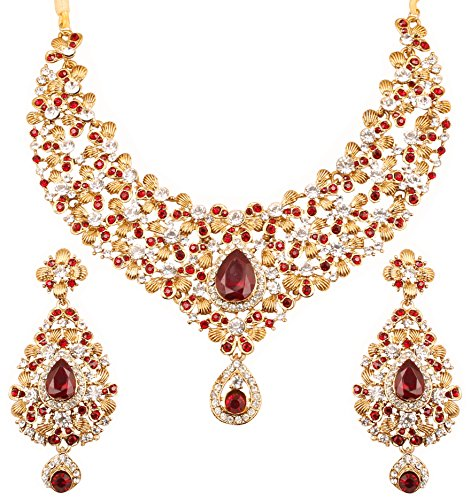 Touchstone Indian Bollywood traditional floral theme white Rhinestone and candy red faux ruby bridal designer jewelry necklace set for women in antique gold tone