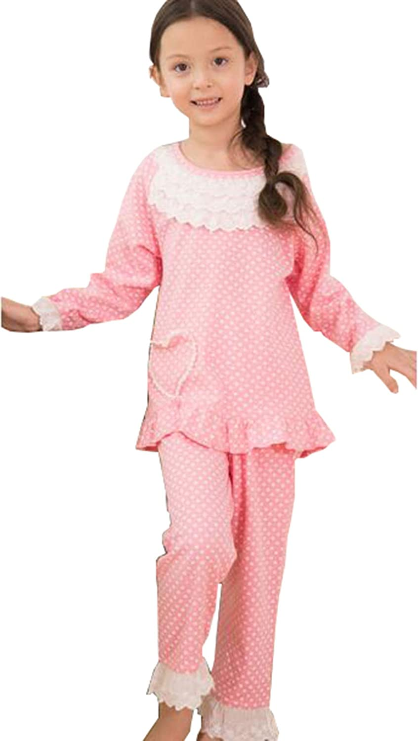 KM Girls Autumn Dots Long Sleeve Pure Cotton Loungewear/&Pajams Sets