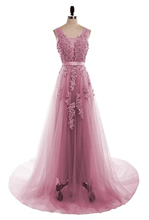 0a4dc329086 menoqo V Neck Floral Lace Elegant Prom Long Dresses Chiffo Party Gown  MNQ181113-Dusty Pink3