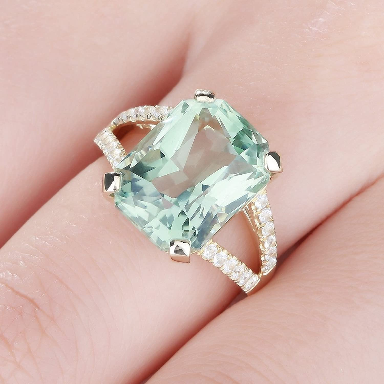 Amazon.com: Zirconia Hyperbole Square Green Crystal Romantic Wedding ...