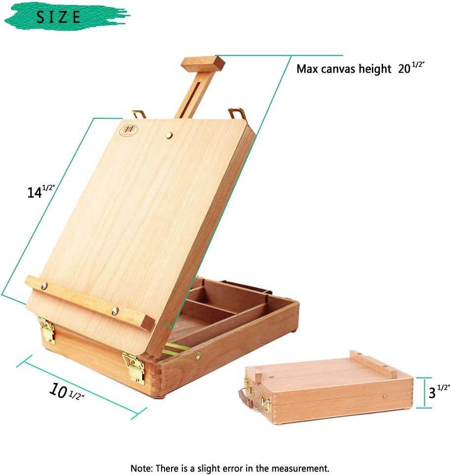 Premium Beechwood Adjustable Wood Table Sketchbox Easel Comfortable and Portable to Carry US Delivery Portable Wooden Artist Desktop Storage Case