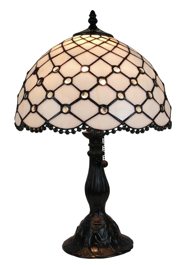 Amora Lighting AM120TL12 Tiffany Style Jewel Table Lamp, 19'' x 12'', white by Amora Lighting (Image #1)