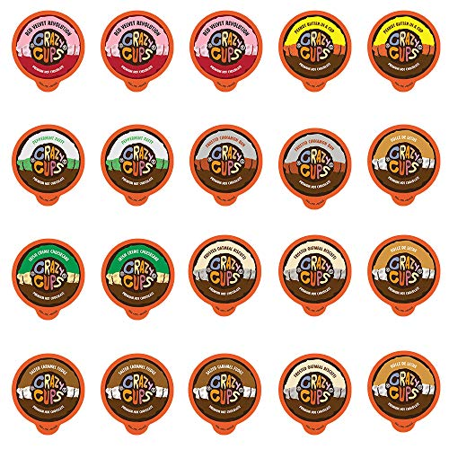 Crazy Cups Seasonal Premium Hot Chocolate Single Serve Cups for Keurig K Cup Brewers Variety Pack Sampler, 20 Count
