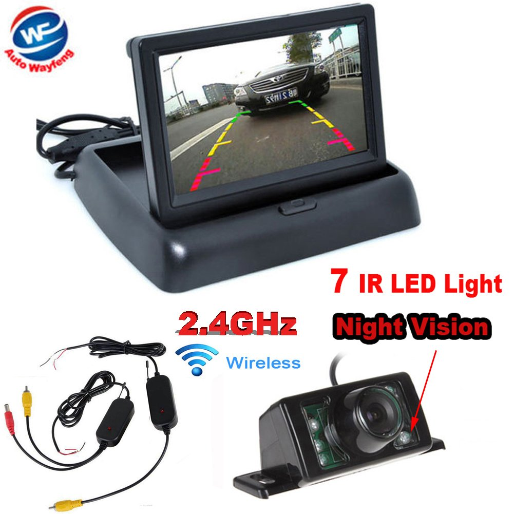 Auto Wayfeng WF® 4.3' LCD TFT Car Foldable Monitor Wireless Rearview Parking Reversing Camera Kit