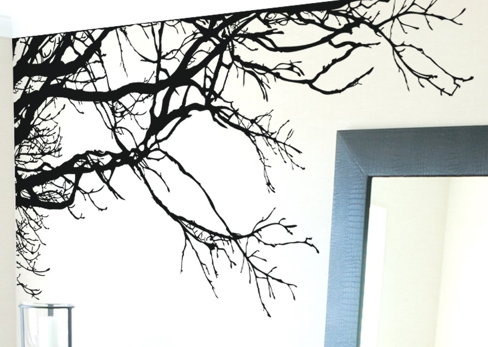 Large Tree Wall Decal Sticker - Semi-Gloss Black Tree Branches, 44in Tall X 100in Wide, Left to Right. Removable, No Paint Needed, Tree Branch Wall Stencil The Easy Way. by Stickerbrand