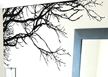 Large Tree Wall Decal Sticker   Semi Gloss Black Tree Branches, 44in Tall X