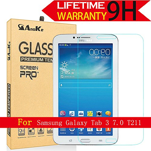Galaxy Tab 3 7.0 Glass Screen Protector, (T210 T217A P3200 2013) AnoKe [Lifetime Warranty](0.3mm 9H ) Film Sheild For 7.0 T210  Glass