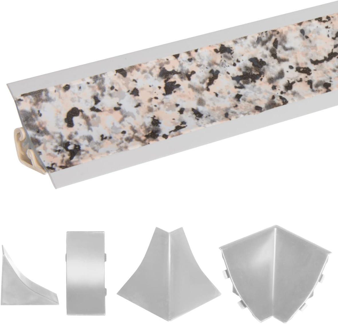 HOLZBRINK Uni/ón de Copete de Encimera Granito List/ón de Acabado PVC Copete para las Encimera de Cocina 23x23 mm
