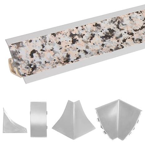 HOLZBRINK Rinconera Interior para el Copete de Encimera Granito Listón de Acabado PVC Copete para Encimeras