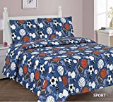 MB Collections Multicolor Sports Basketball Football Baseball Soccer Volleyball Hockey Design 3 Piece Printed Twin Sheet Set with Pillowcase Flat Fitted Sheet for Boys/Kids/Teens # Sports (Twin)
