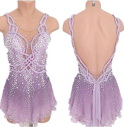 Figure Skating Dresses Custom Women Competition Skating Dress deep v purple