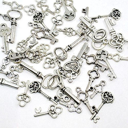 PEPPERLONELY Brand 50PC Antiqued Silver Keys Charms Pendants Findings 13-32mm (Approximately 1/2 Inch-1-1/4 Inch)