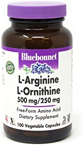 Bluebonnet l-ornithine 500 Mg/250 Mg Vitamin Capsules, 100Count