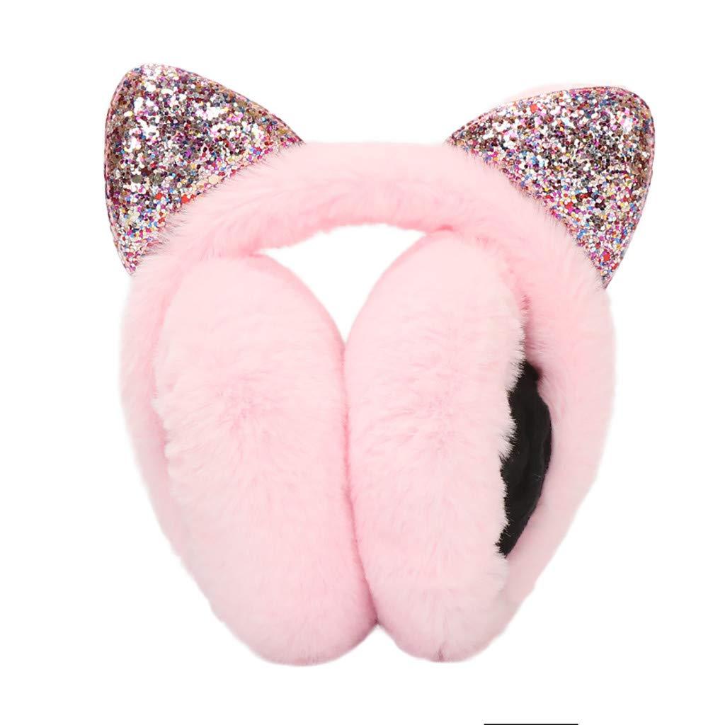 TANGON Lovely Cat Ear Earmuffs, Women Girls Cozy Furry Fur Winter Thermal Ear Warmers Earflap Adjustable Warm Ear Covers for Running Cycling Ski Snow Ear Muffs Headband (Pink)