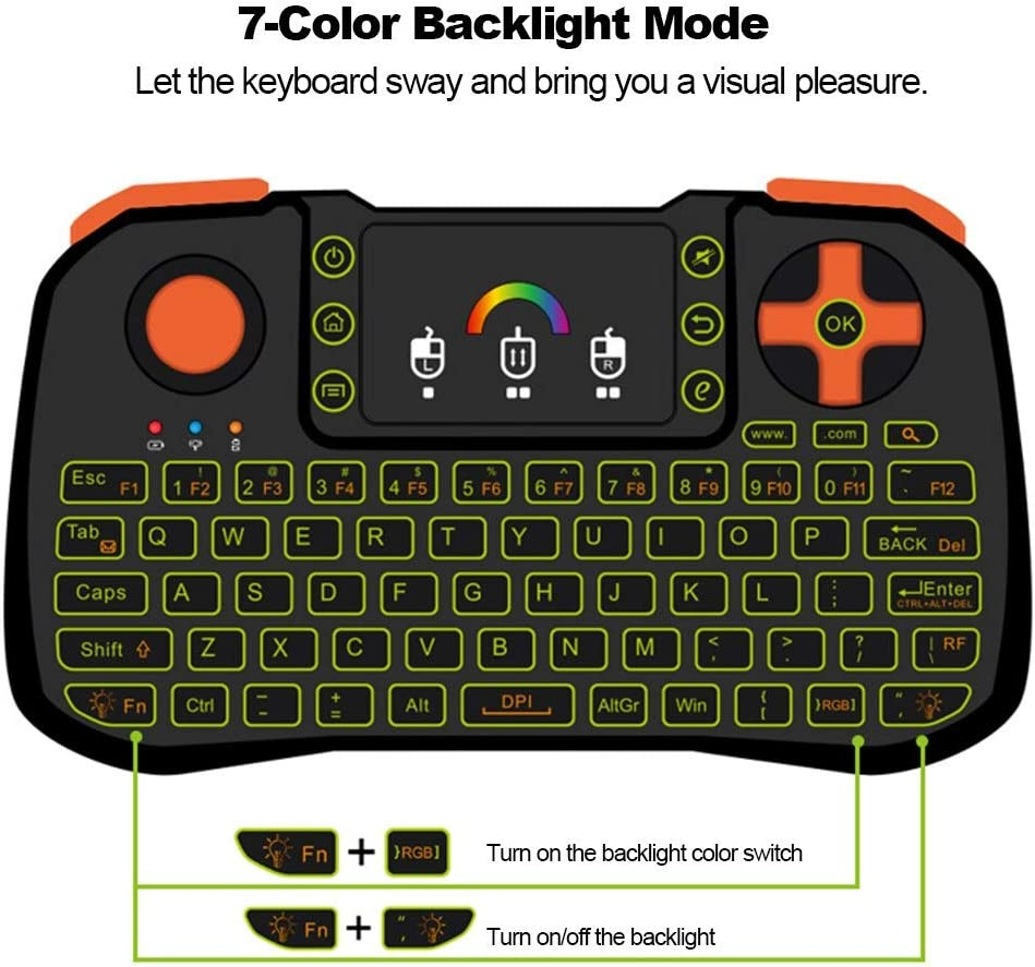 Calvas TZ10 2.4GHz Wireless Keyboard Touchpad Mouse Handheld Remote Control with Backlight for Android TV Box Smart TV