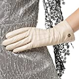 Nappaglo Women's Classic Leather Gloves Italian Lambskin Winter Warm Pure Cashmere Lining Driving Gloves (Touchscreen or Non-Touchscreen) (XL (Palm Girth:8''-8.5''), Creamy White (Non-Touchscreen))