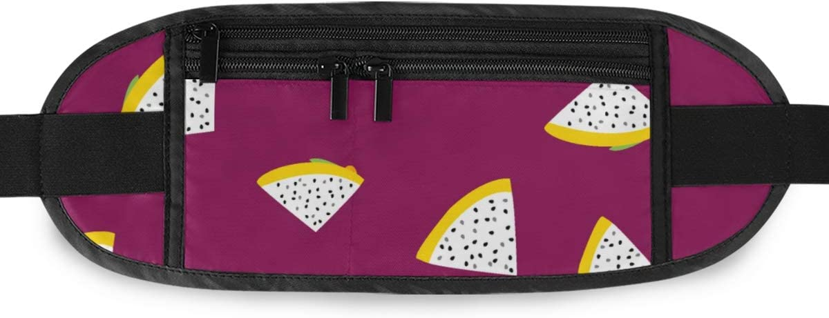 Exotic Pattern Yellow Dragon Fruit Running Lumbar Pack For Travel Outdoor Sports Walking Travel Waist Pack,travel Pocket With Adjustable Belt