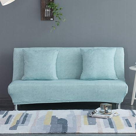 Monba - Funda de sofá Cama con patrón de Lino, Plegable, sin Brazos, con diseño de futón, poliéster, Azul Claro, XL:195-225cm
