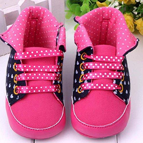 Happy Cherry 1Par Zapatillas Altas de Bebé Niñas Primeros Pasos Suela de Goma Antideslizante Patrón de Corazones