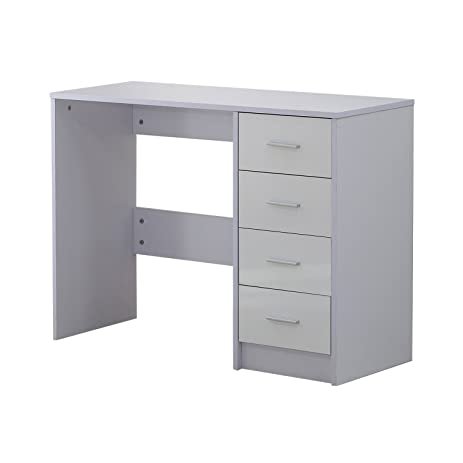 Delicieux Homcom High Gloss Vanity Dressing Table 4 Drawer Computer PC Study Desk  Office Furniture White By