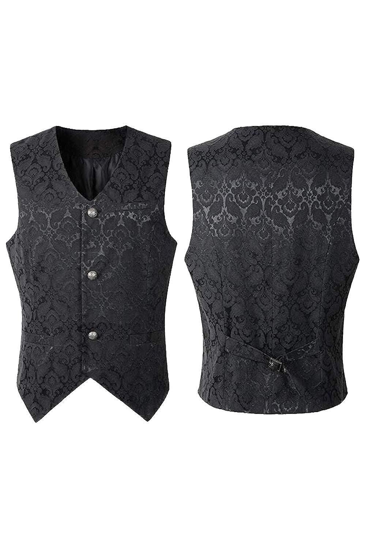 Homme Gilet Costume Veste Luxe Medieval Gothique Gilet Costume Slim Fit sans Manches pour Mariage Snuter