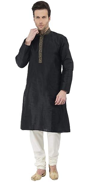 70f55950cc Kurta Indian Wear Mens Ethnic Traditional Long Sleeve Kurta Pajama -M Black