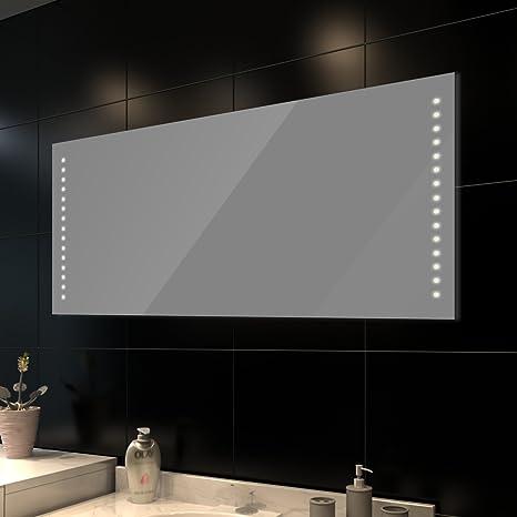 Specchio da Bagno Orizzontale con Luci Led (140 cm x 60 cm): Amazon ...
