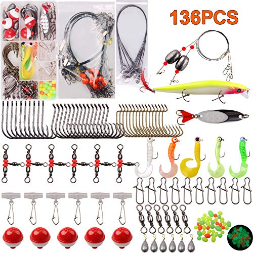 AGOOL Saltwater Surf Fishing Tackle Kit - 136 pcs Wire Leader Rigs Spoon Fishing Hooks Weight Sinkers Rig Swivel Float Duo-Lock Snap Beach Saltwater Fishing Gear