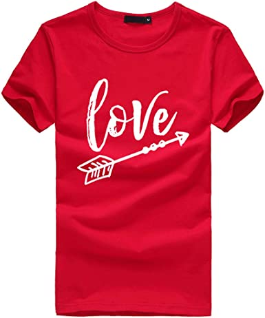 Basic T Shirt for Women,Pocciol Cute Love Letter Printed Tees Casual Loose Tops Plus Size