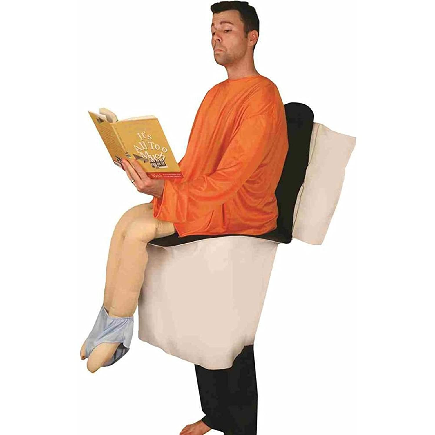Amazon.com: Sitting on Toilet Funny Party Pooper Adult Costume ...