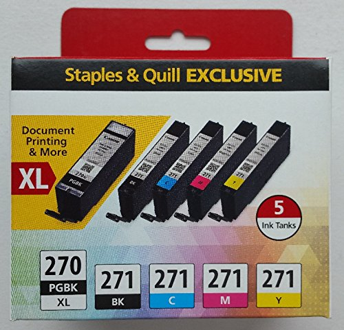 Canon PGI-270PGBK and CLI-271 Black/Cyan/Magenta/Yellow Combo Ink 5 Pack (0319C006)