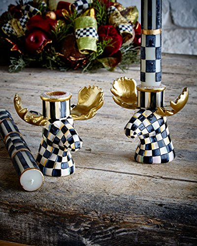 MacKenzie-Childs Courtly Check Moose Candlesticks, Set of 2 BRAND NEW IN GIFT BOX 4''W x 2.5''D x 3''T