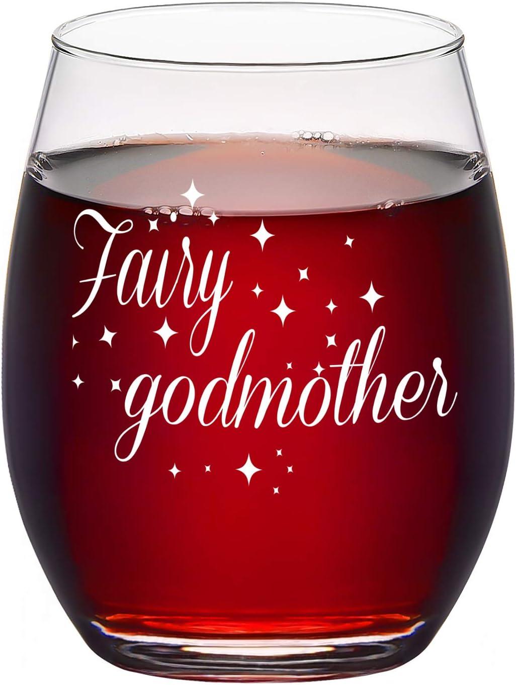 Copa de vino sin tallo para madrina de la hada, 15 onzas, día de la madre o regalo de Navidad para mujeres, esposa, mamá, mamá embarazada, mamá para ser