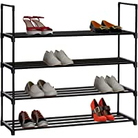 "HOME BI 4 Tier Shoe Rack, 20 Pairs Shoes Organizer Closet for Home & Office, Anti-rust,Easy to Assemble, No Tools Required,35.6""W x 12.0"" D x 33.27""H (Black)"