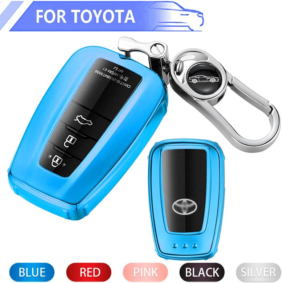Soft TPU Key Fob Case All-Around Protector Plating Shell Fit Keyless Smart Remote Key of Toyota 2018 2019 Toyota Camry RAV4 Avalon C-HR Prius Corolla Black Key Fob Cover for Toyota