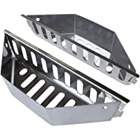 """New Larger Design- Stainless Steel Charcoal Basket- BBQ Grilling Accessories for Grills and 22"""" Kettles- Heavy Duty Char-Basket for Briquette, Wood Chips- Charcoal Grill Accessories (Set of 2)"""