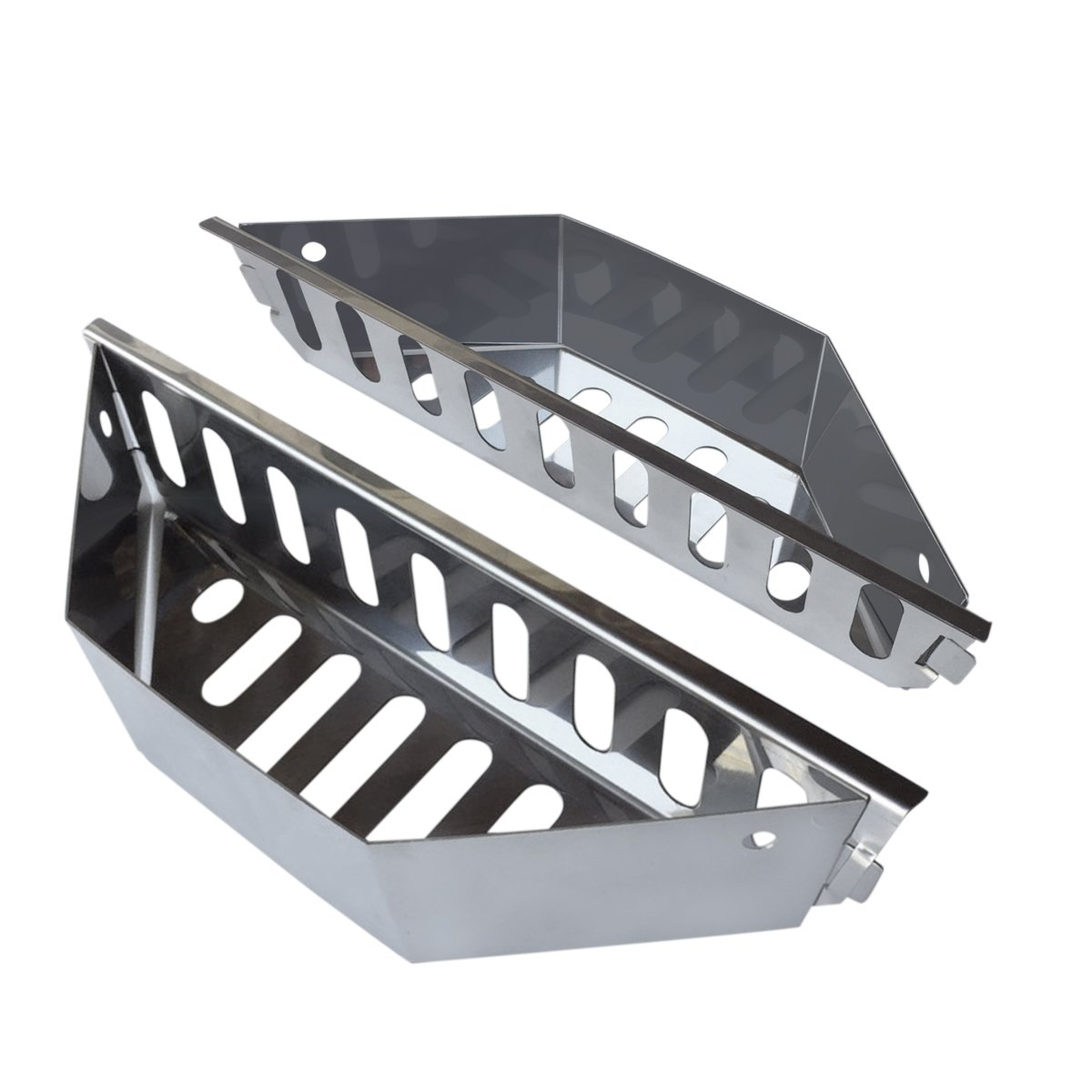 New Larger Design- Stainless Steel Charcoal Basket- BBQ Grilling Accessories for Grills and 22'' Kettles- Heavy Duty Char-Basket for Briquette, Wood Chips- Charcoal Grill Accessories (Set of 2)