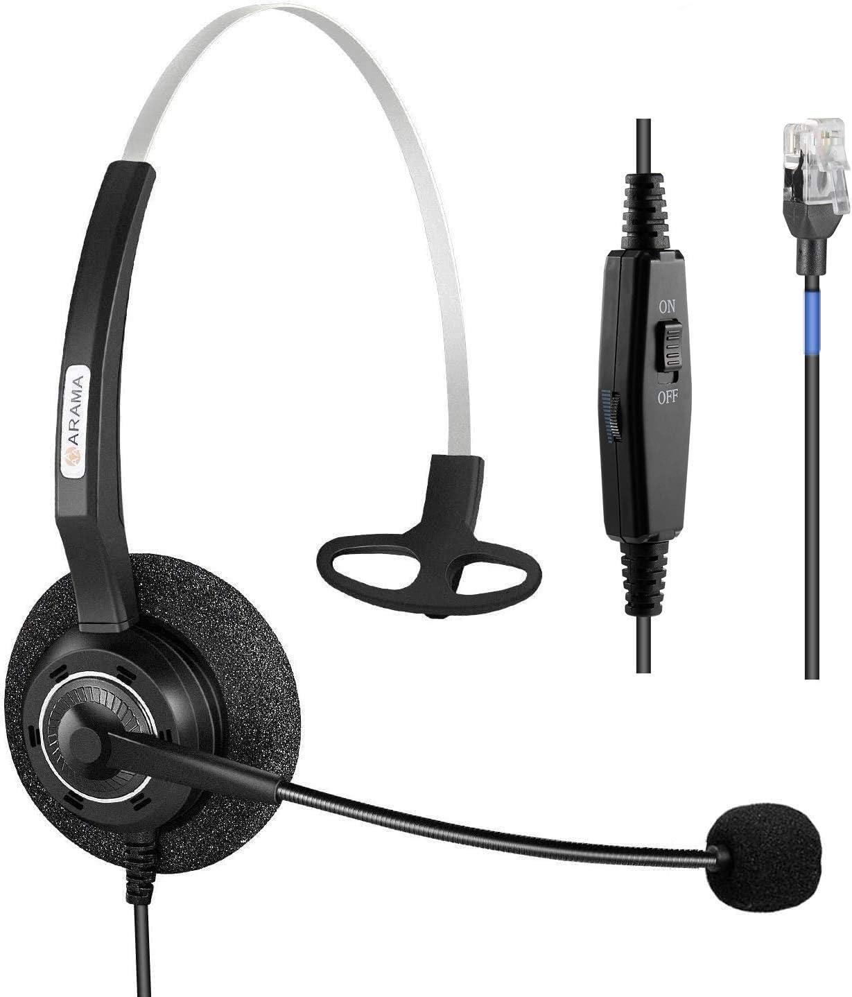 Arama Phone Headset RJ9 with Pro Noise Canceling Mic and Mute Switch Controls Wired Headset for Polycom Mitel Plantronic Nortel Shoretel Aastra Avaya Lucent Landline Phones-200MS2