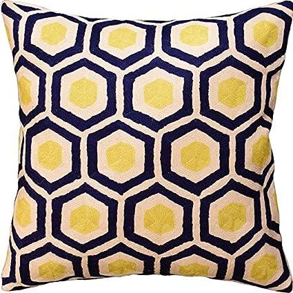 Amazon Contemporary Honeycomb Navy Yellow Decorative Pillow Fascinating Navy And Yellow Decorative Pillows