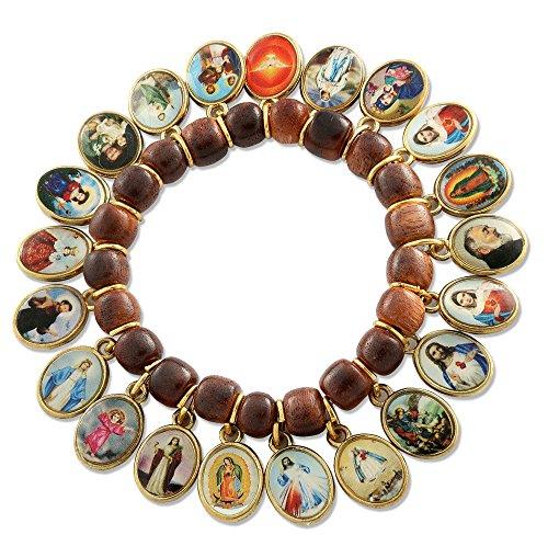 Catholic Wooden Bracelet Medals Saints product image