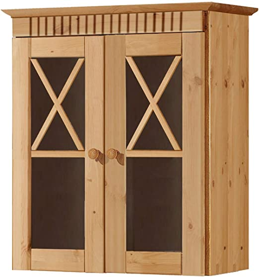 Loft24 Hängeschrank Küche Badezimmer Wandschrank Oberschrank Kiefer  Massivholz Badschrank 2 Glastüren Landhaus gebeizt geölt 60 x 30 x 66 cm
