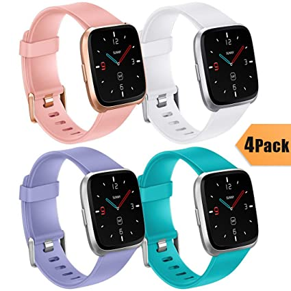 Ouwegaga for Fitbit Versa Fitness Bands, for Fitbit Versa Smartwatch Straps Sport Silicone Water Resistance Wristbands for Men Women Large 4 Pack