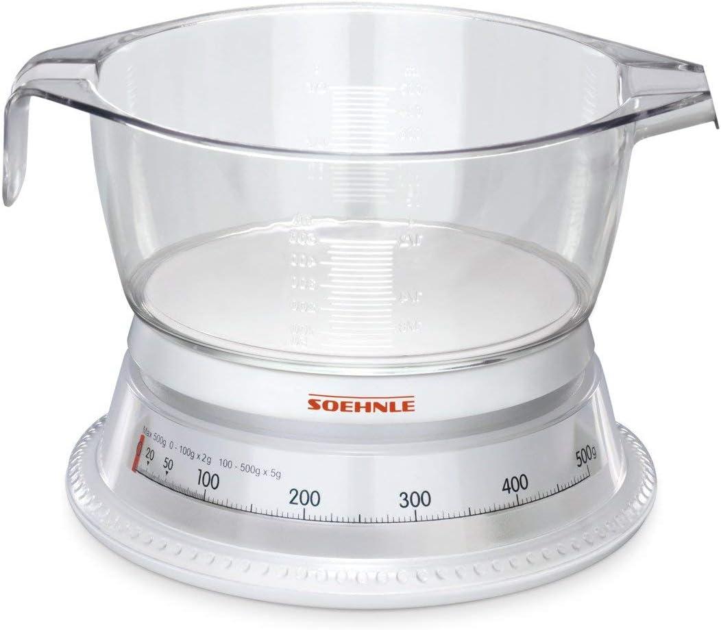 Soehnle 65418 Vario - Báscula de cocina, color blanco y transparente
