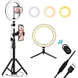 "10.2"" Selfie Ring Light with Tripod Stand & Cell Phone Holder for Live Stream/Makeup, QI-EU Mini Led Camera Ringlight for YouTube Video/Photography/Tiktok Compatible with iPhone and Android Smartphone"
